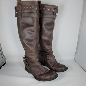 BORN Brown Over Calf Zippered Boots